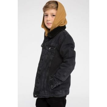 Black Boy's Furry Denim Coats K6828A6.19SP.NM40