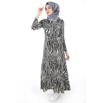 Women's Zebra Pattern White Patterned Hijab Dress 1525BGD19_092