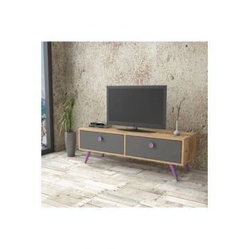 Vilamo Tv Unit Wooden Leg, 2Sheets, Pine-Anthracite-Purple VL2-226 1319678