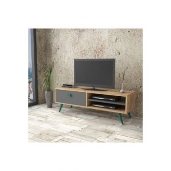 Vilamo Tv Unit Wooden Leg, with Drawers, Pine-Anthracite-Turquoise VL1-225 1319662