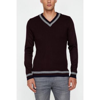 Men's Burgundy Sweater 9KAM81119LT
