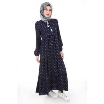 Women's Navy Blue Collar Lace-up Hijab Dress 1627BGD19_009