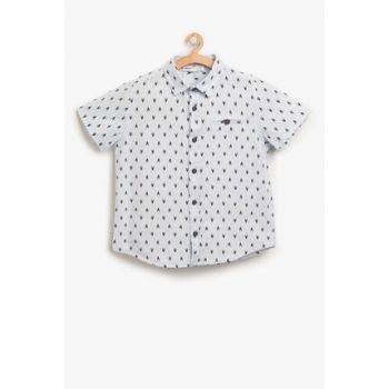 Blue Boy's Patterned Shirt 8YKB66236TW