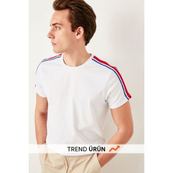 White Mens Shoulder Stripe Bicycle Collar T-shirt TMNSS19SQ0002