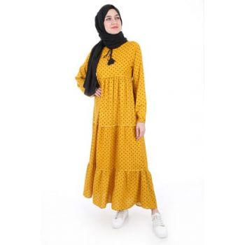 Women's Polka Dot Mustard Collar Lace-up Hijab Dress 1627BGD19_249