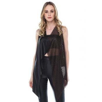 Women Copper Black Copper File Detailed Leather Vest YDE1010