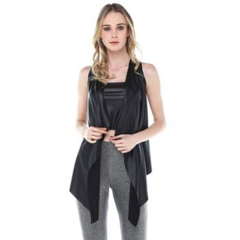 Women's Black Leather Vest YDE1009