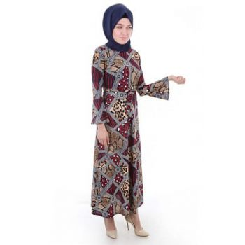 Women Leopard Pattern Burgundy Patterned Dress 1525BGD19_229