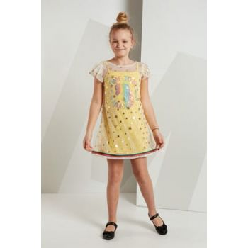 Girl Unicorn 2 Layer Dress MS-19Y2-040