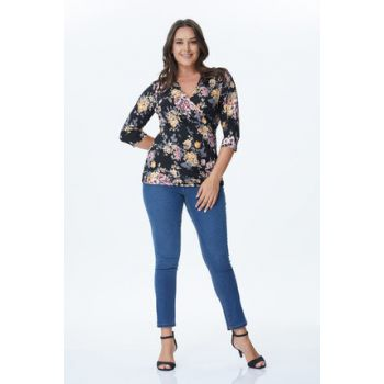 Women's Floral Pattern Floral Patterned Wrap Knitted Blouse 34113