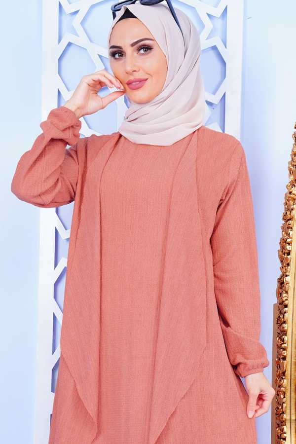 Shawl Collar Rose Dried Double Set