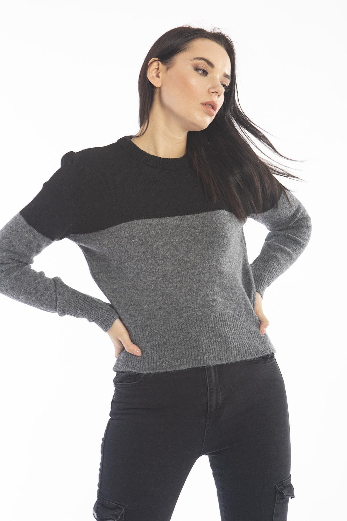 Women's Anthracite / Black Two Color Sweater 6086T