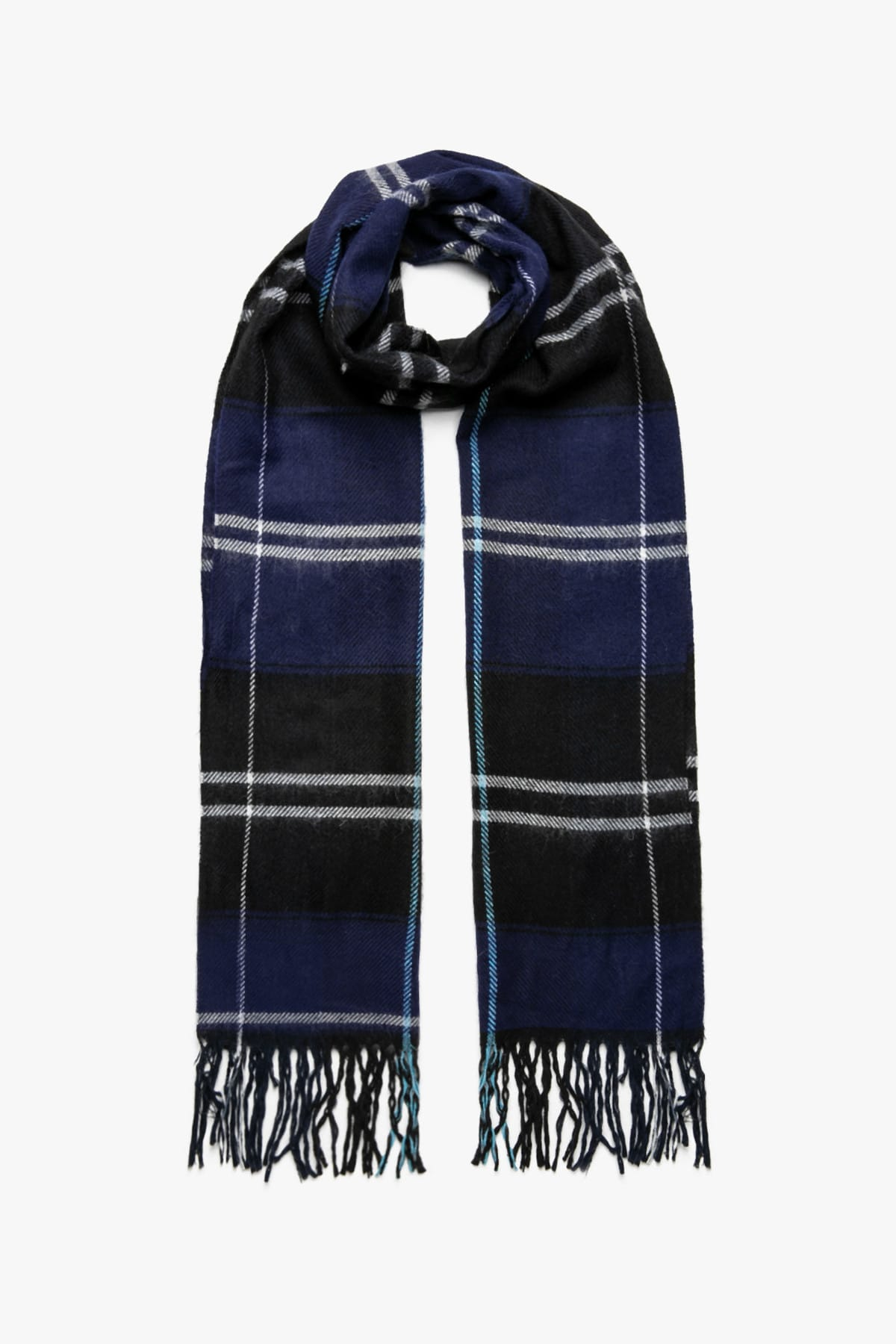 Men's Navy Blue Plaid Scarf 9KAM55308AA