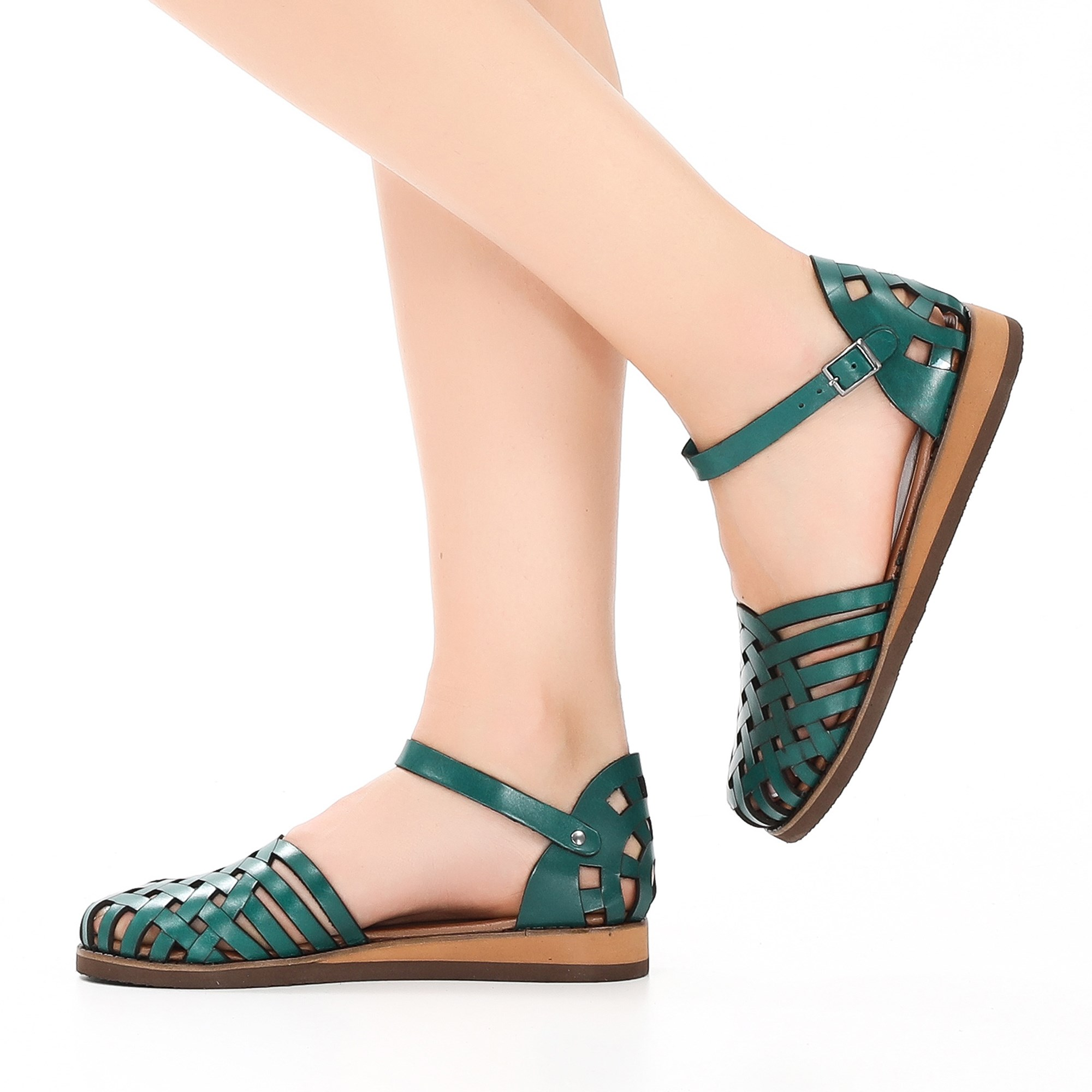 Otari Green Genuine Leather Flats