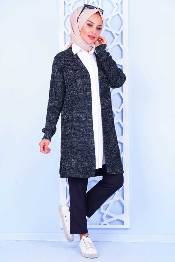 Silvery Long Navy Blue Sweater Cardigan