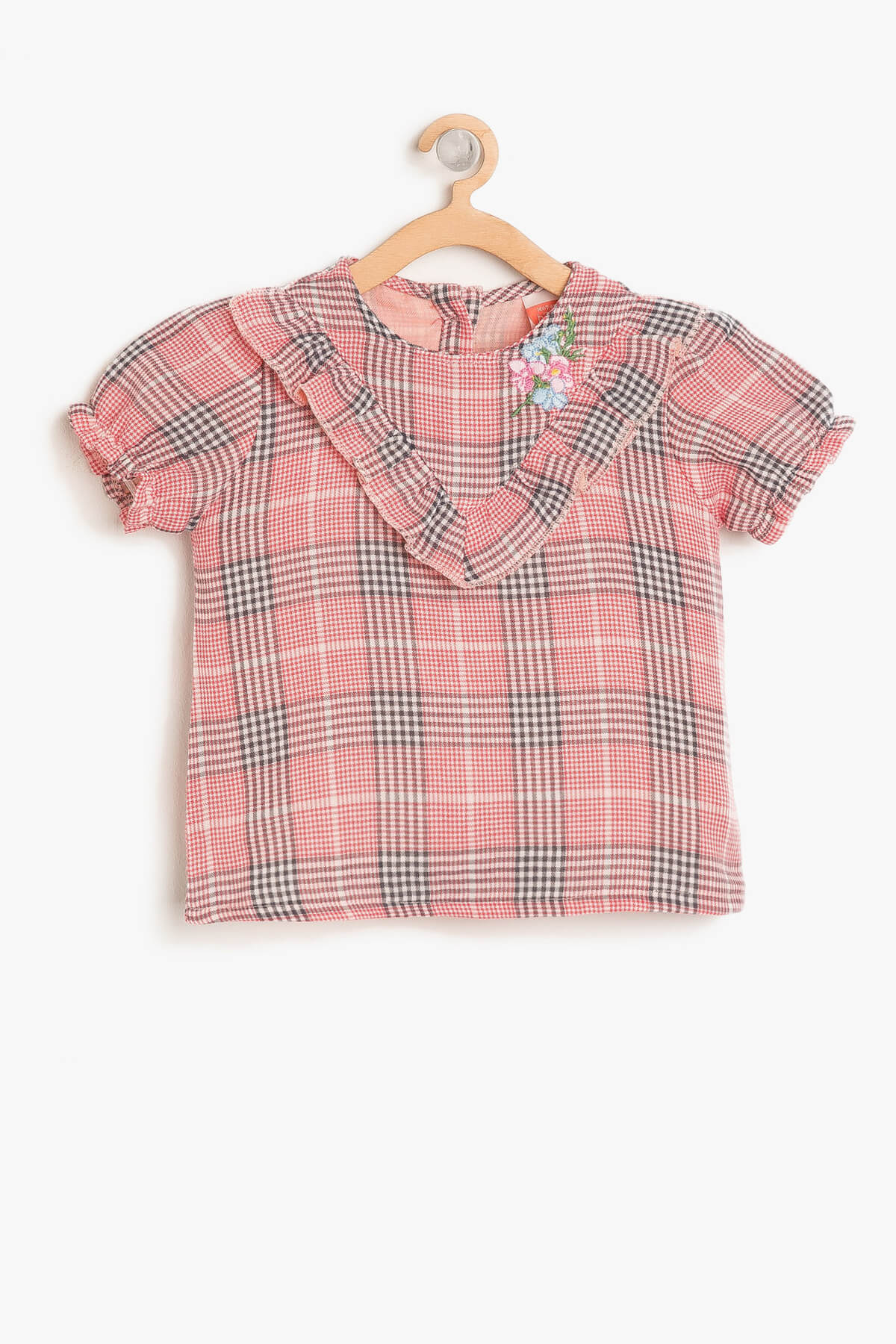 Koton Kids Red Baby Girl Checkered Blouse 8ymg69383zw