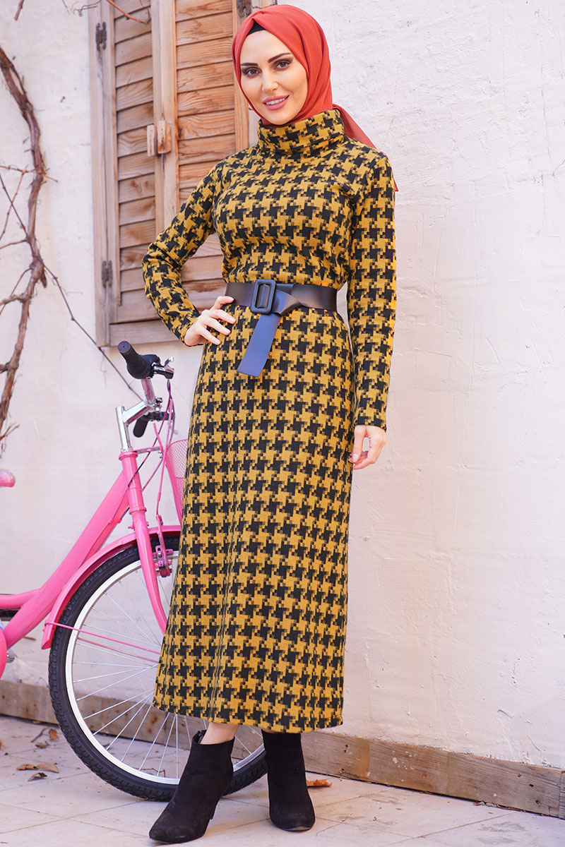 Mustard Color Plaid Pattern Degaje Neckline Belted Dress