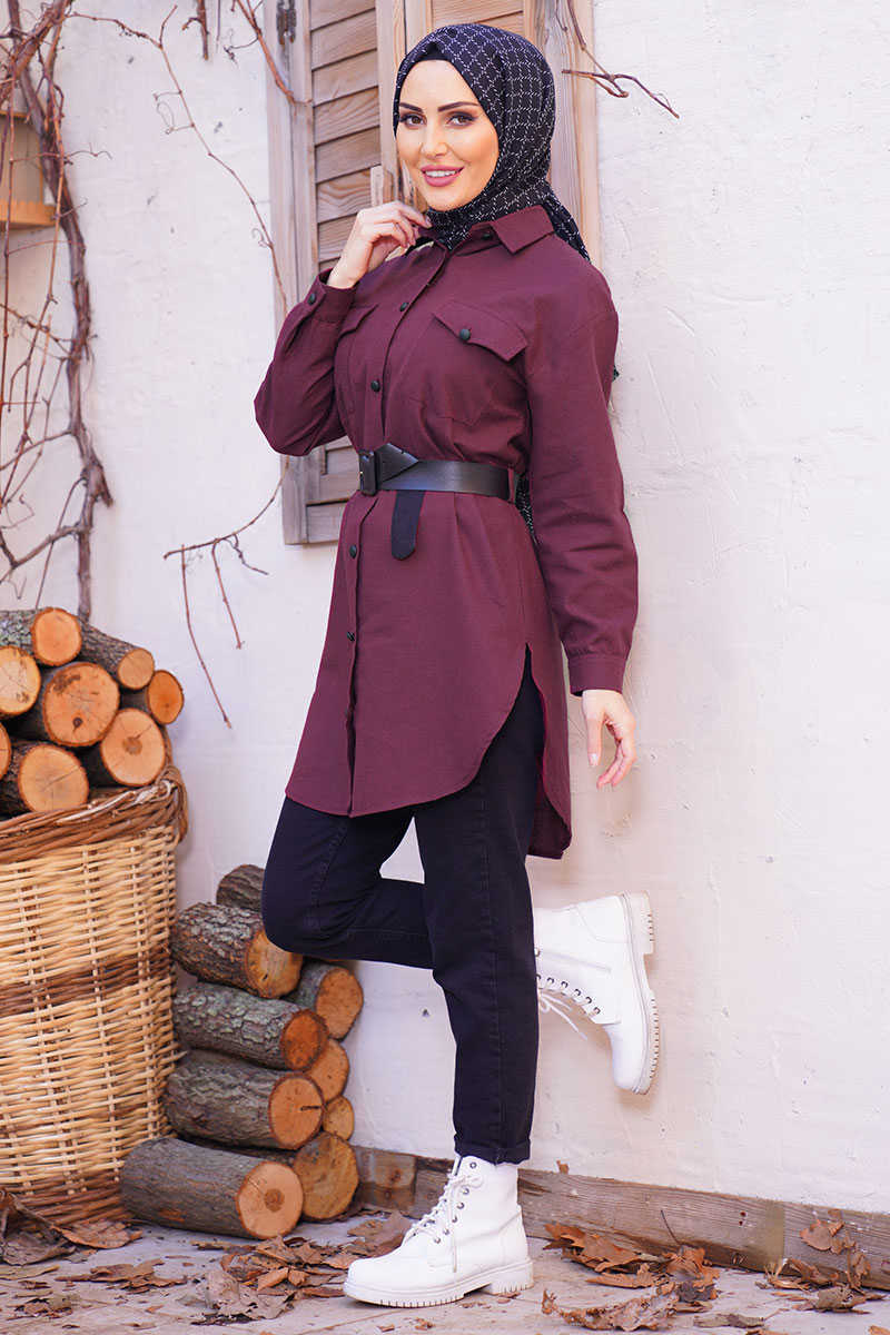 Melange Fabric Articulated Belt Burgundy Shirt