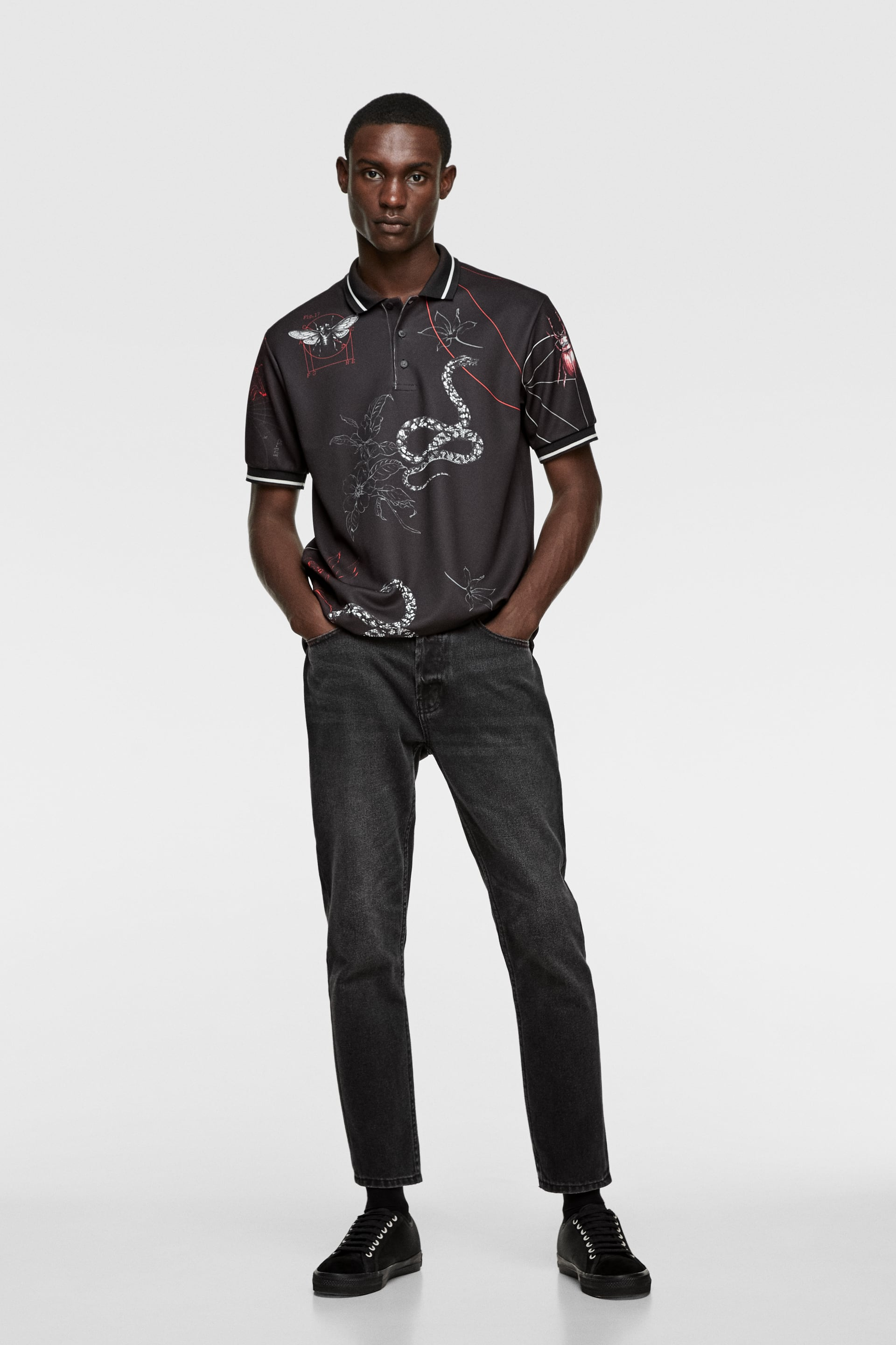 INSECT PRINT POLO SHIRT