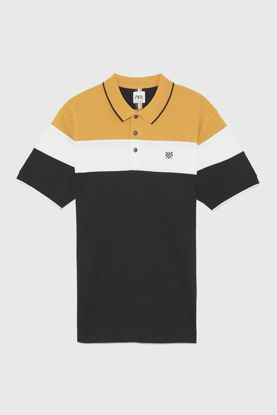 Polo shirt with a collar, short sleeves with striped ribbed trims, embroidered detail on the chest, hem with side vents and front button fastening., ...