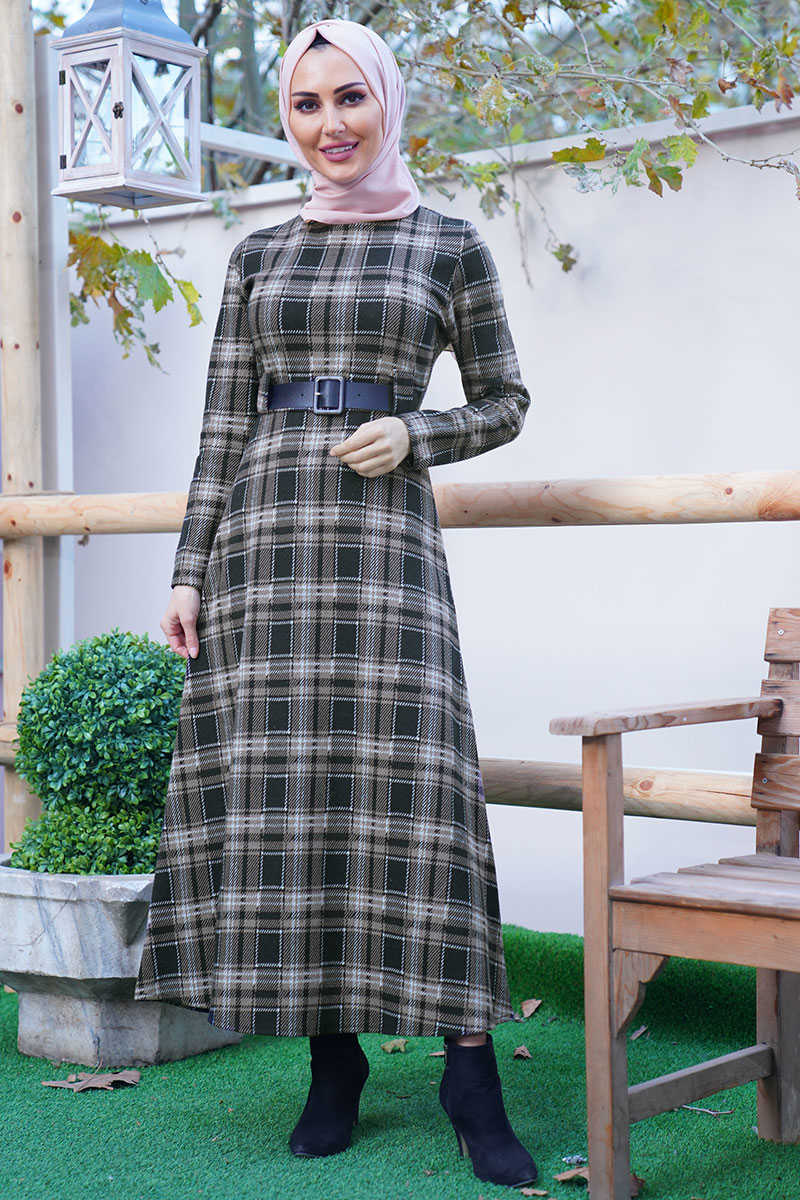 Mink Color Square Pattern Waist Belt Dress