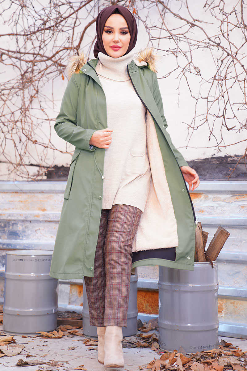 Hooded Inside Fleece Khaki Coat