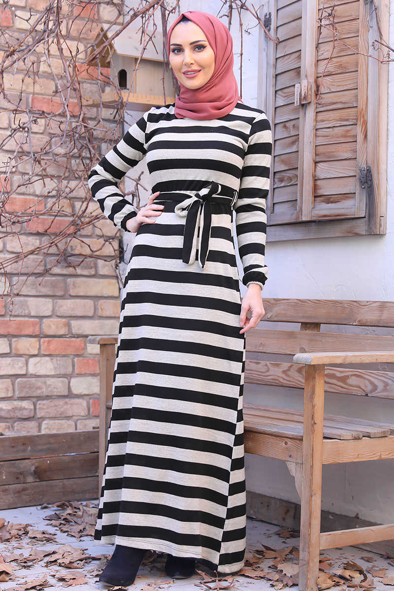 Beige Horizontal Striped Waist Belted Sweater Dress