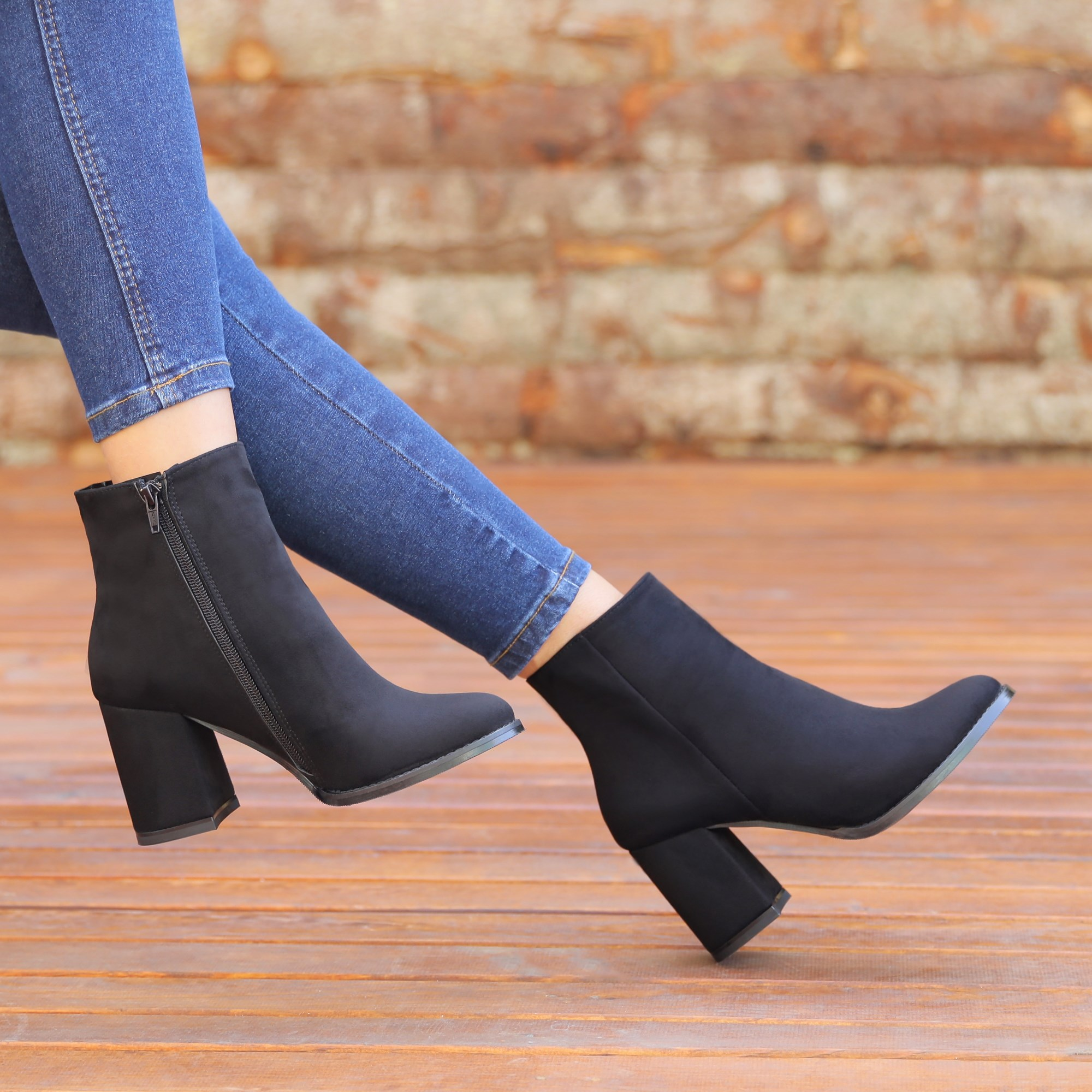 Kotiska Suede Black Thick Heeled Boots