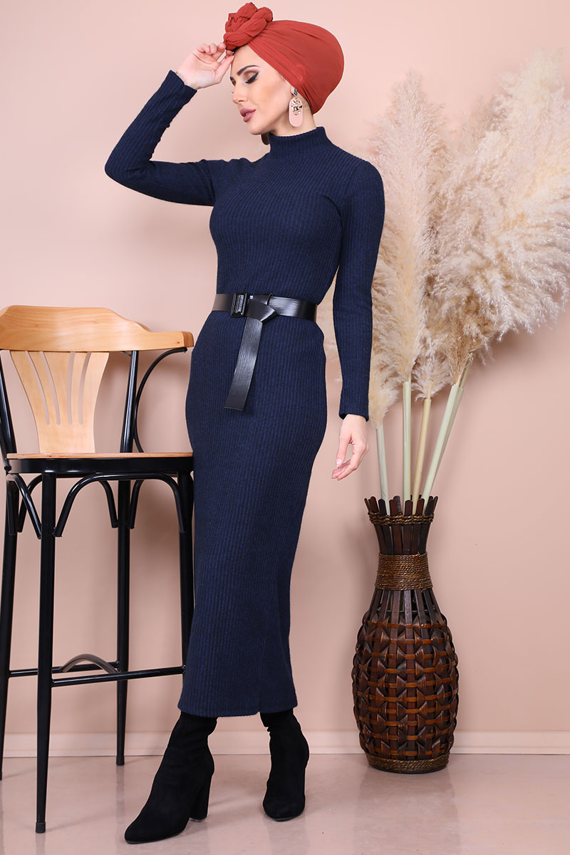 Half-necked Navy Blue Pencil Dress