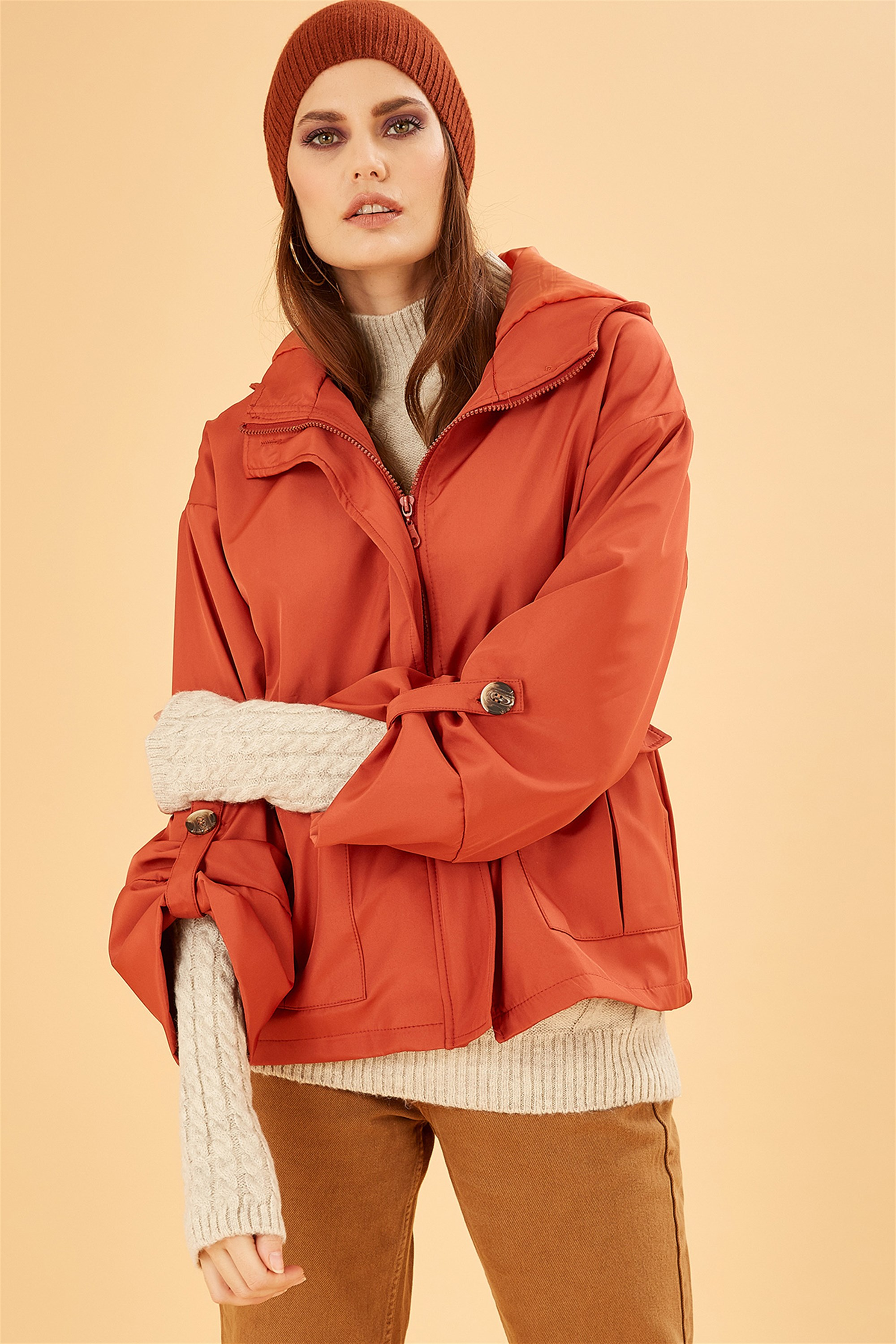 Hooded Waist Pleated Tile Color Trench Coat
