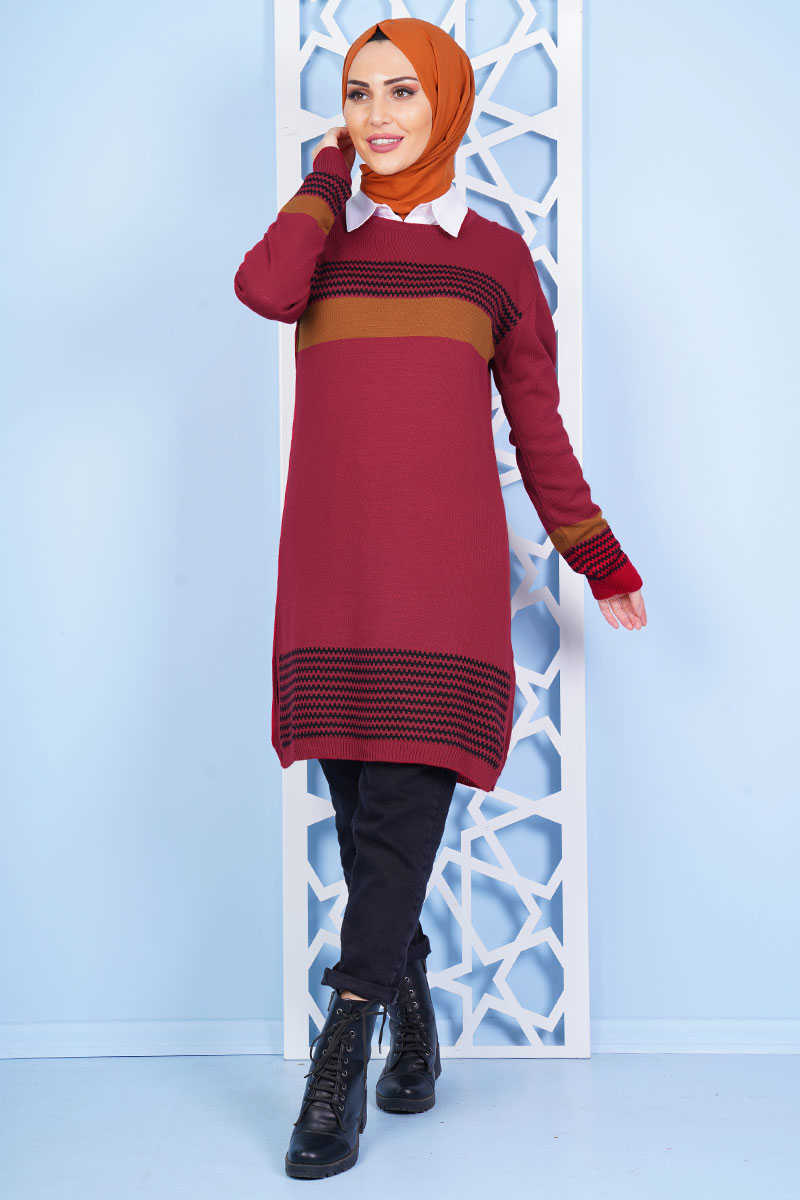 Horizontal Striped Goose Leg Pattern Burgundy Taba Knitwear Tunic