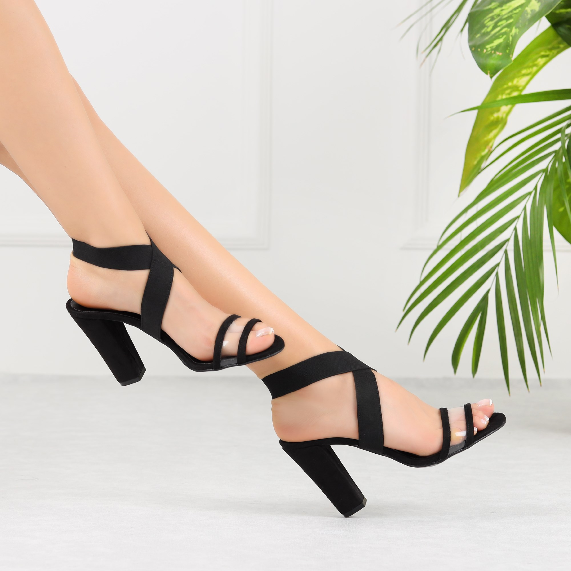 Bozanis Suede Black Transparent Band Women High Heels Shoes