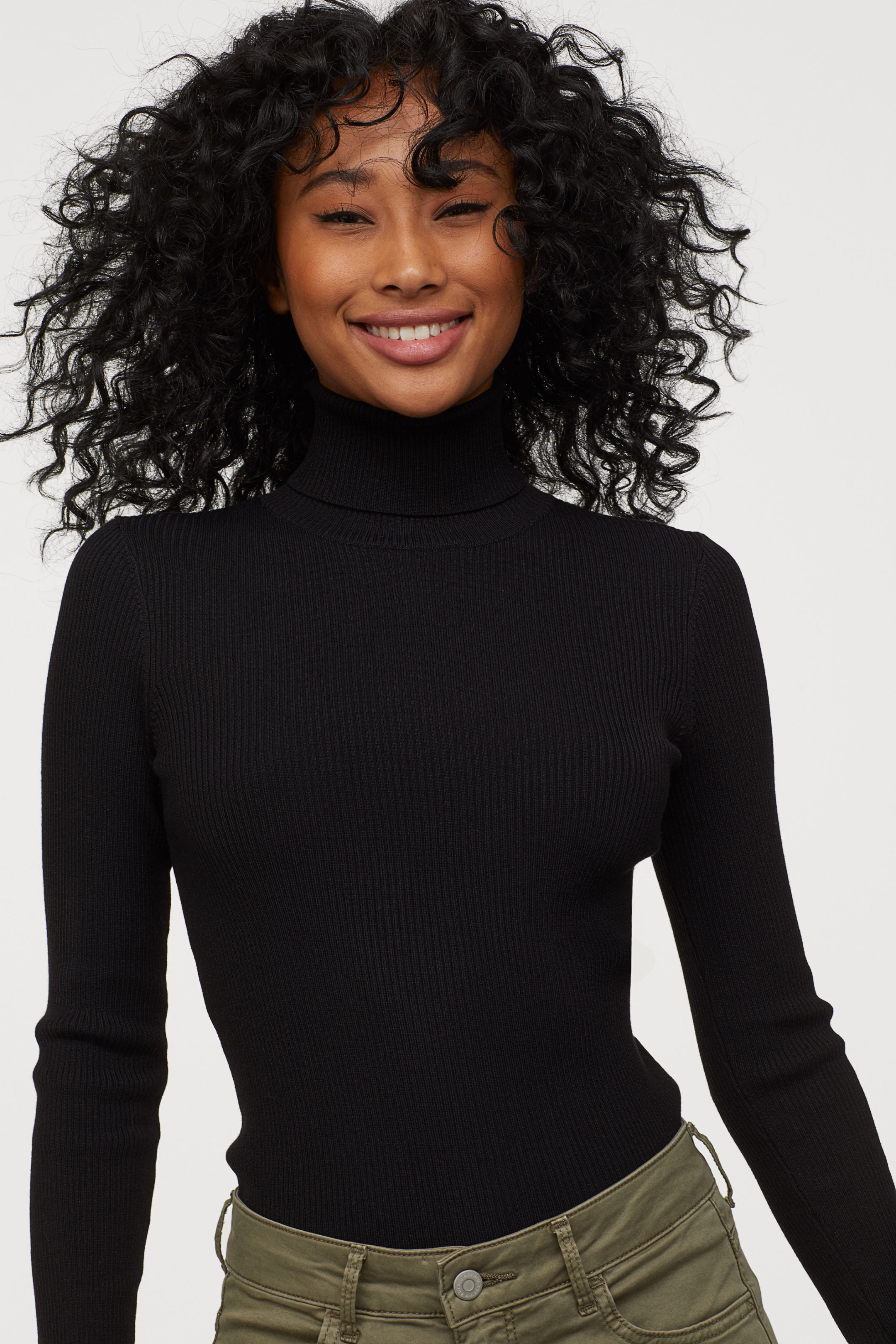 Rubber Knit Turtleneck Sweater