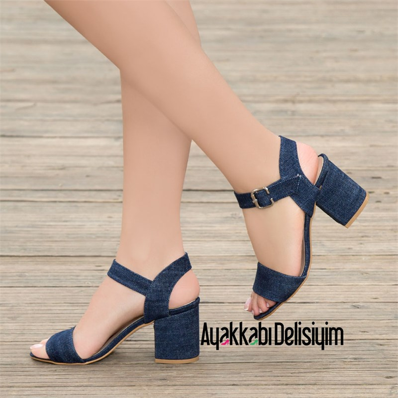 Arjenin Jeans Short Heel Sandals