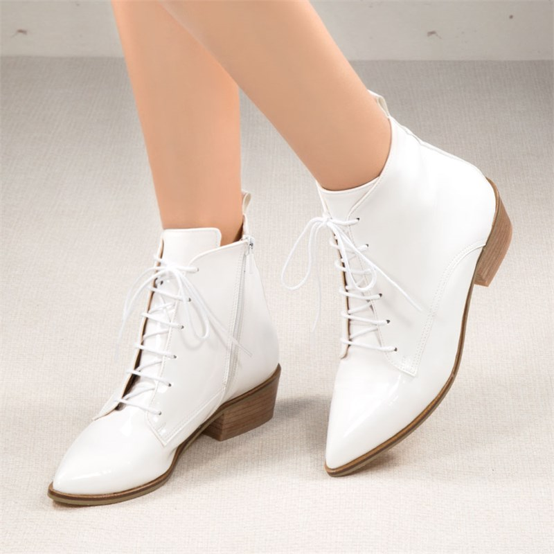 Mutpa Patent Leather White Front Lace-up Pointed Toe Boots