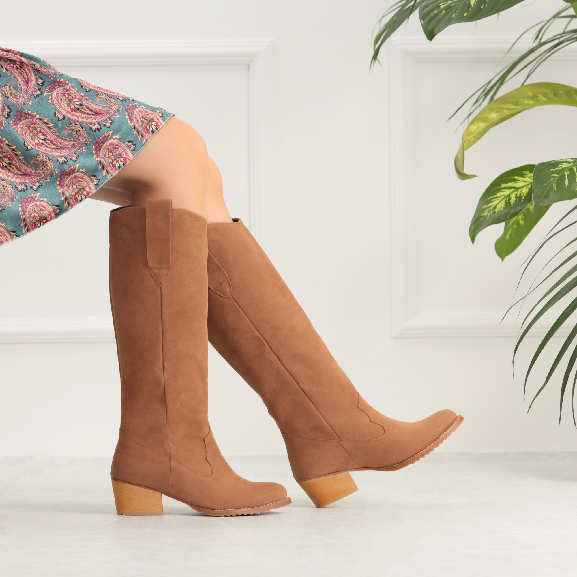Osterav Suede Taba Colored Short Thick High Heels Boots