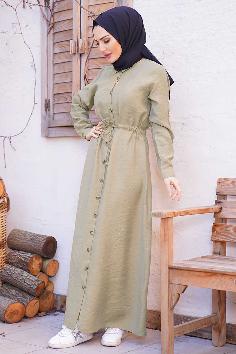 Waist Shirred Camel Hijab Dress