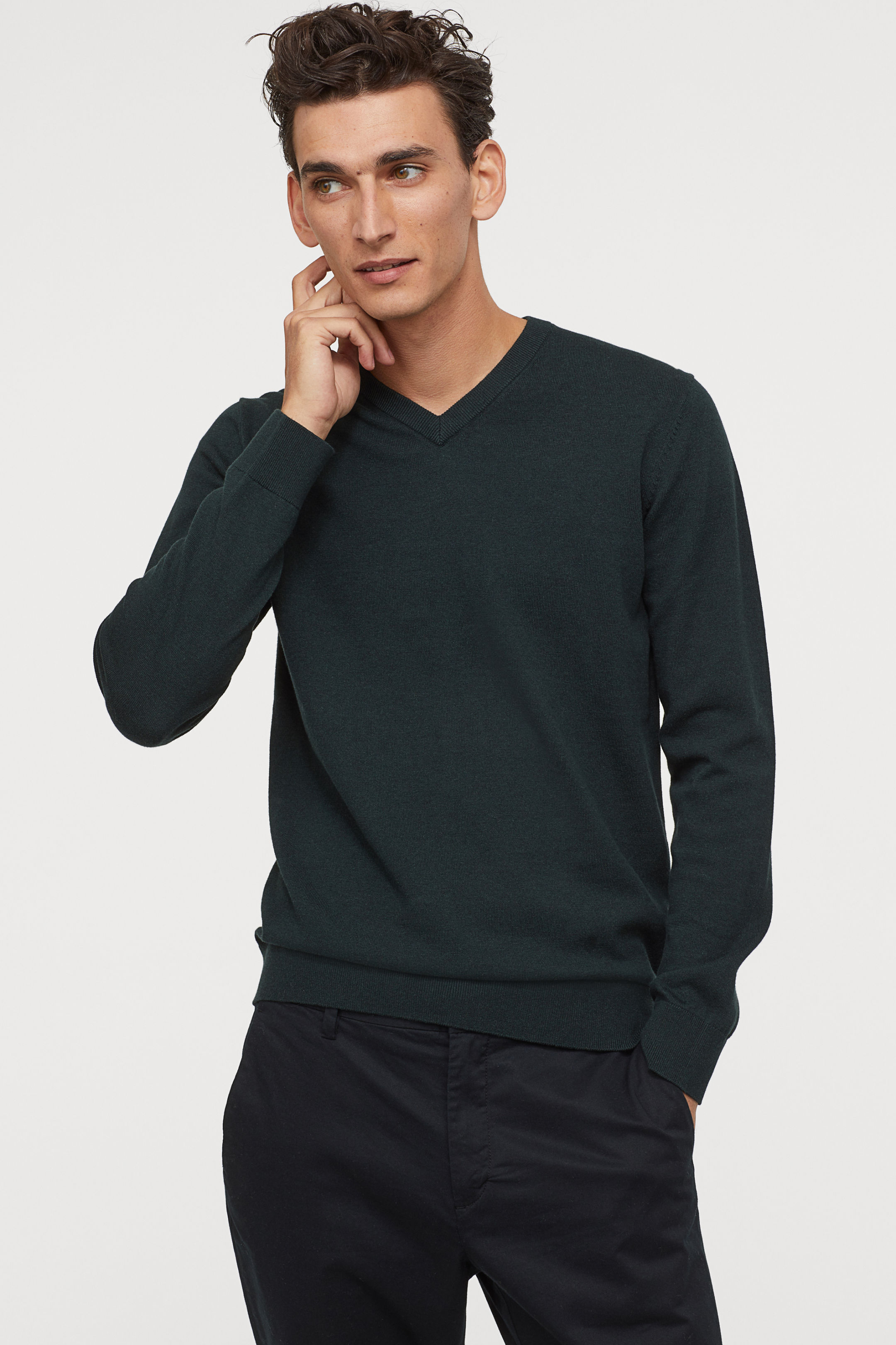 V Neck Cotton Sweater