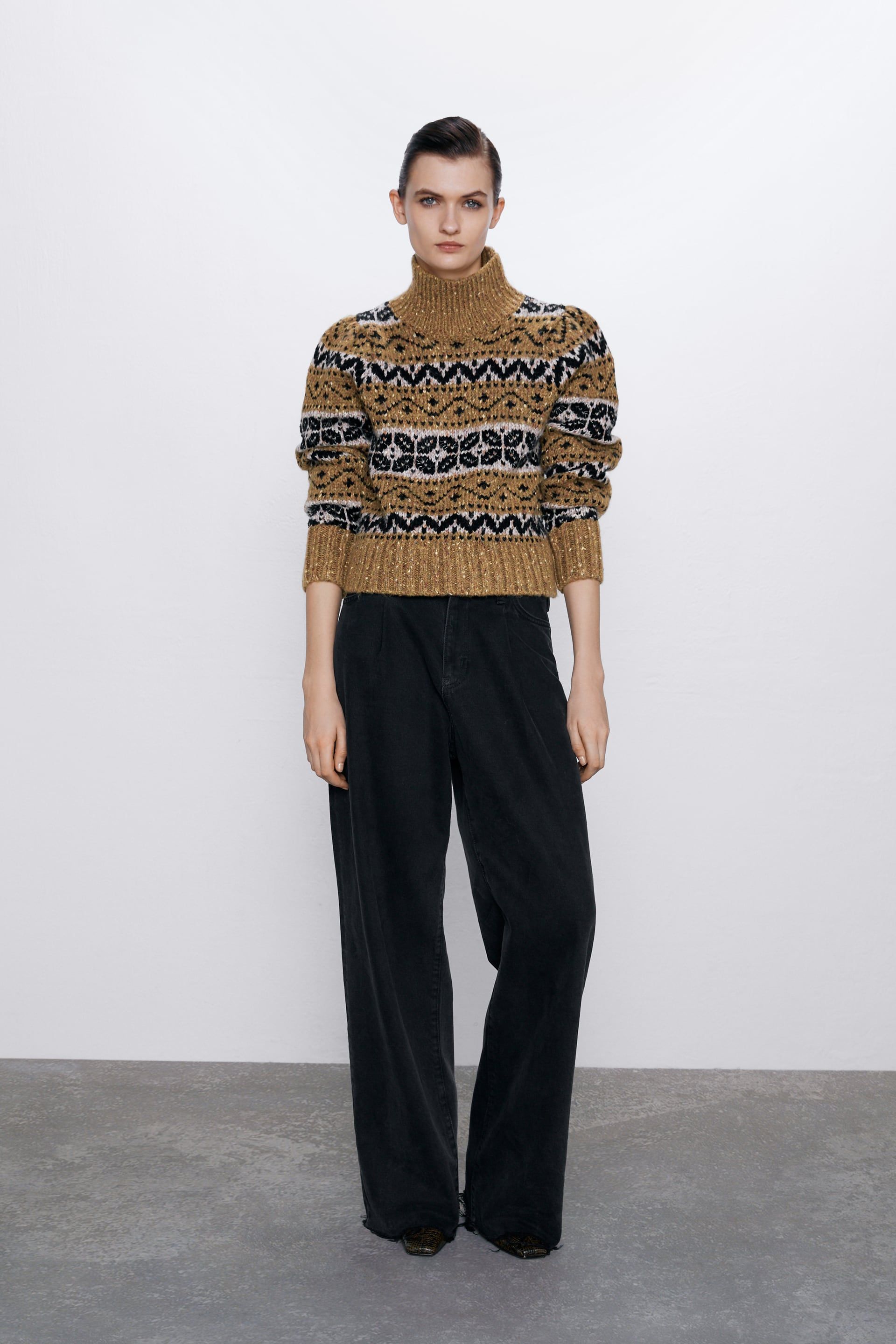 JACQUARD SWEATER WITH BEADS