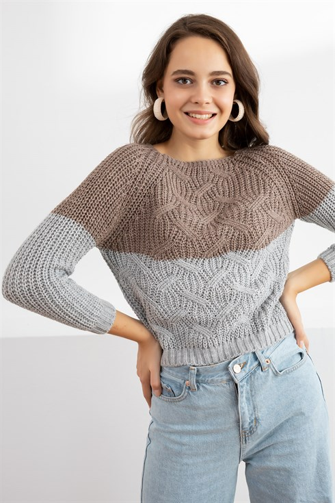 Two-Color Sweater - MINK