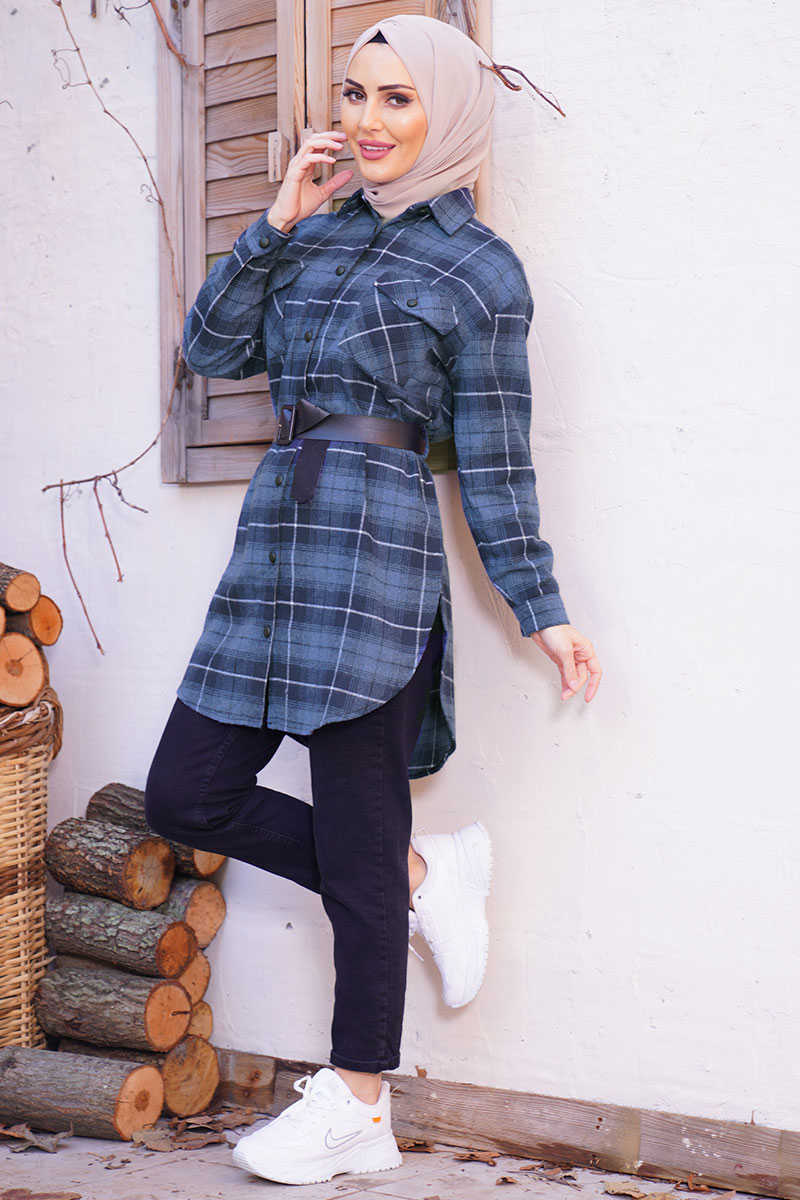 Square Pattern Double Pockets Indigo Lumberjack Shirt