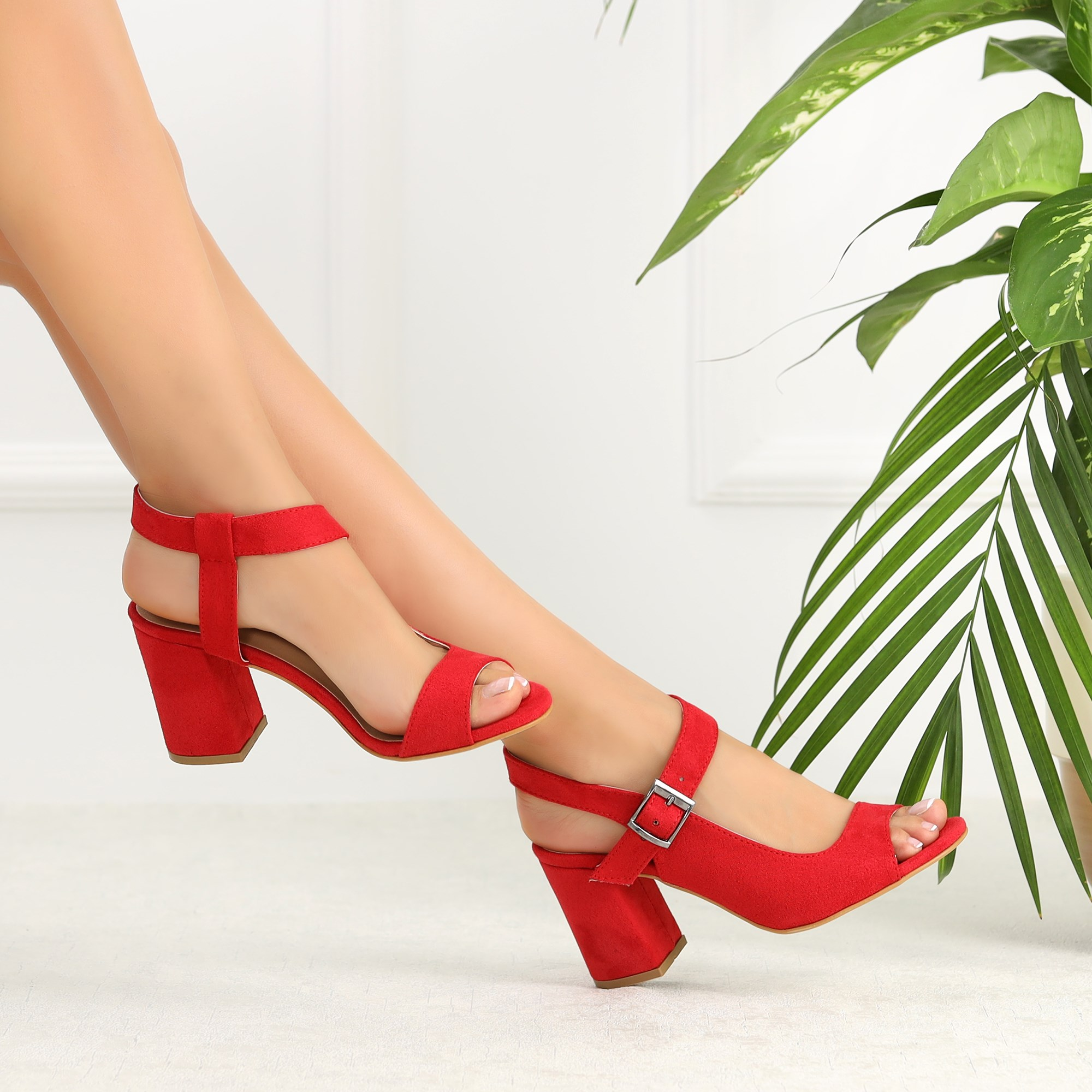 Malip Suede Red Thick Heels Sandals