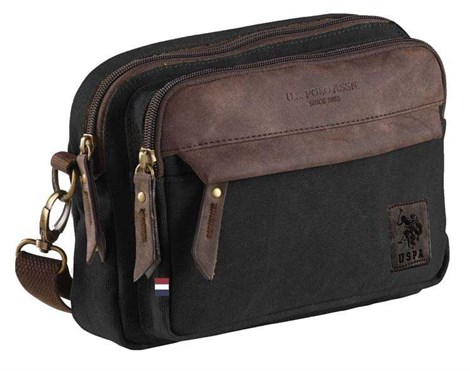 US Polo Assn. PLEVR7158 Black Canvas Briefcase (PLEVR7158)
