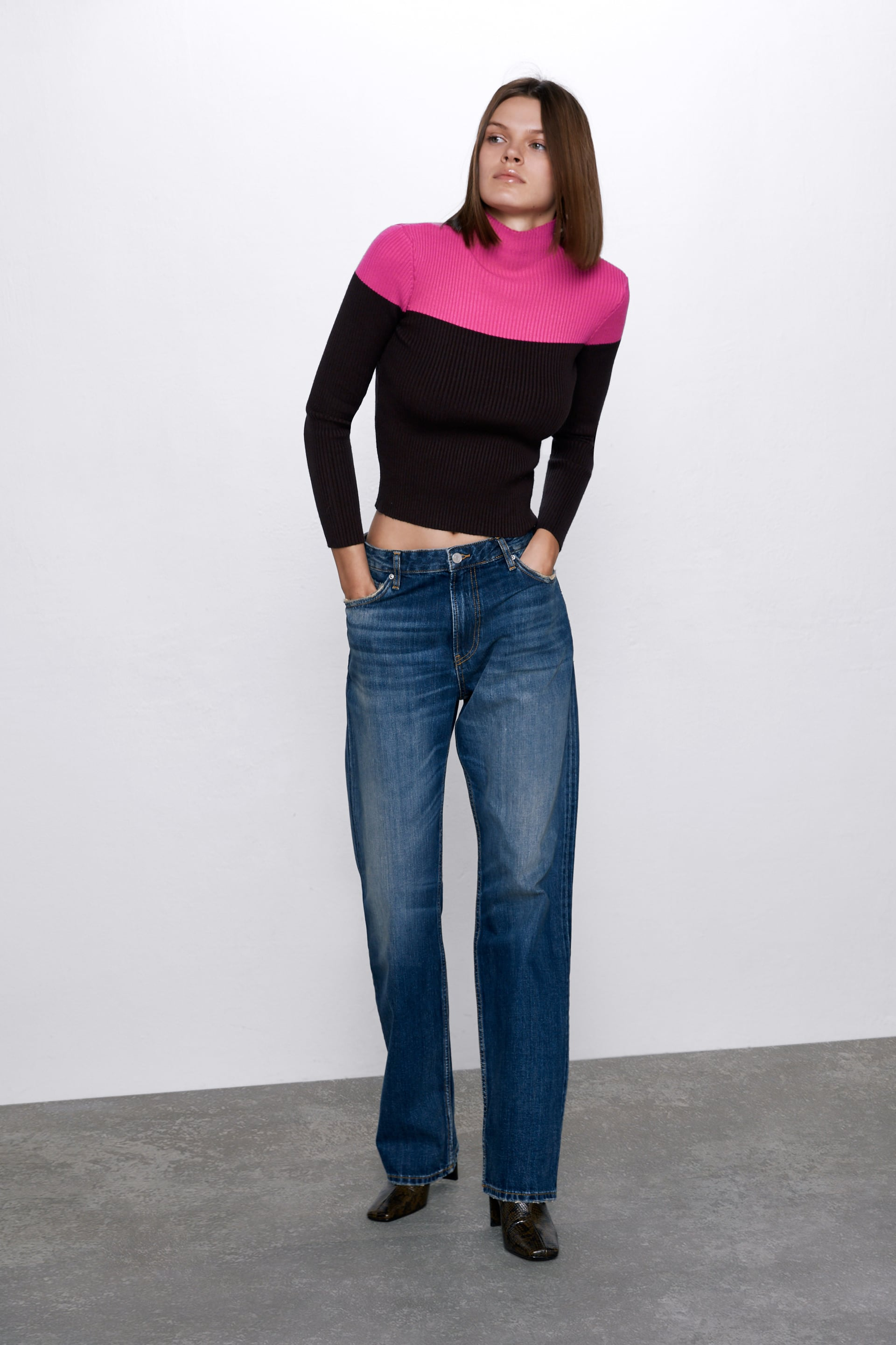 COLOUR BLOCK KNIT SWEATER