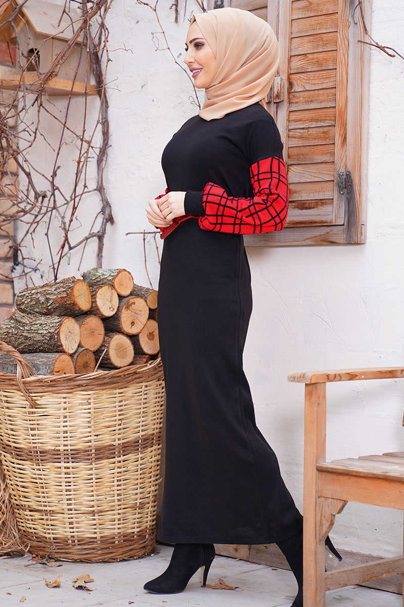 Plaid Pattern Belt Black Sweater Dress with Sleeves