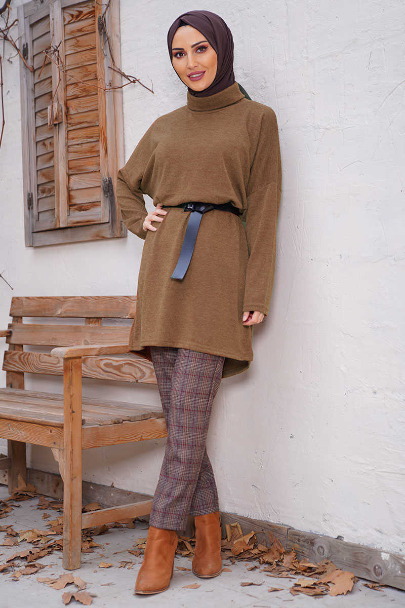 Turtleneck Taba Color Sweater Tunic