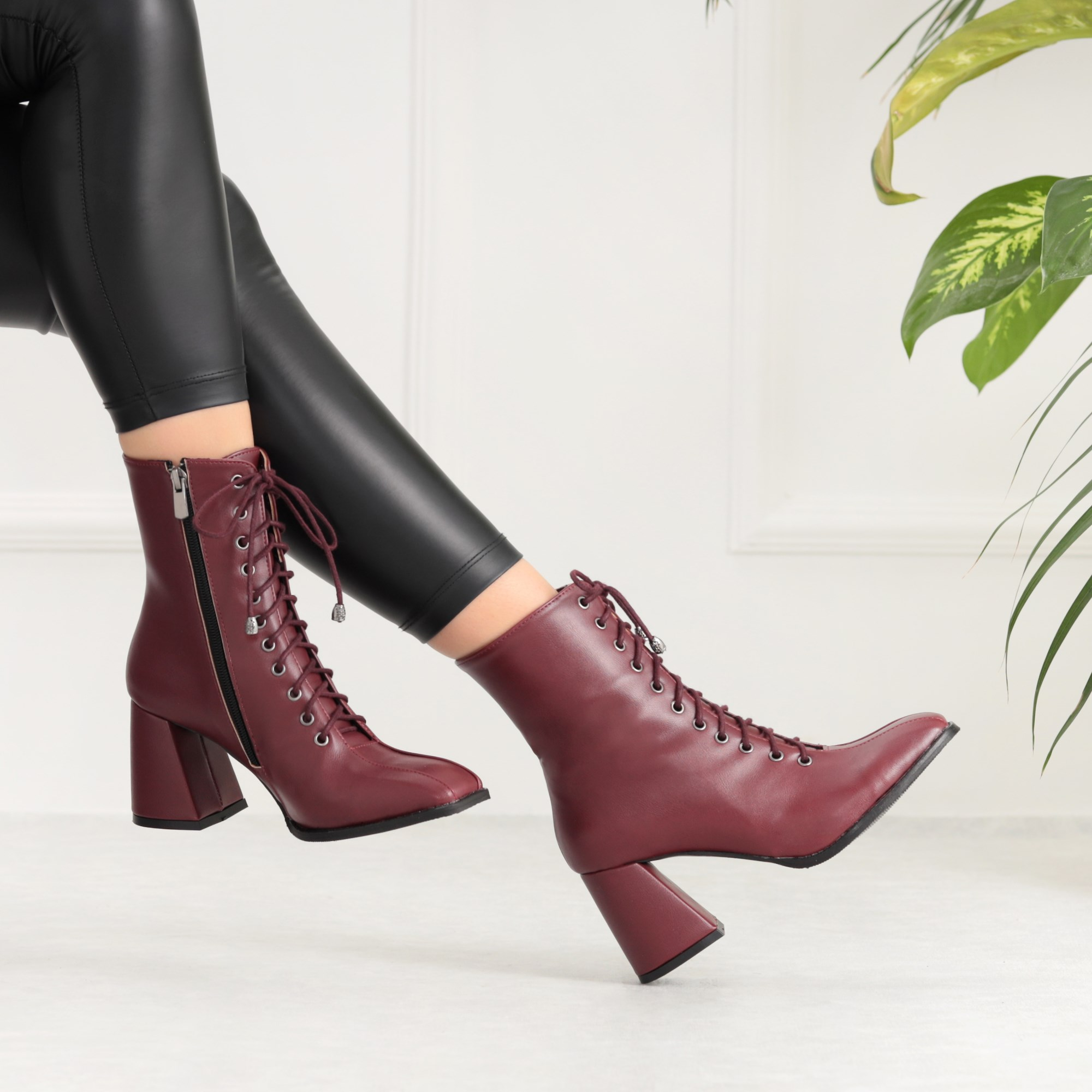 Saperga Plum Color Boots Thick High Heels Boots