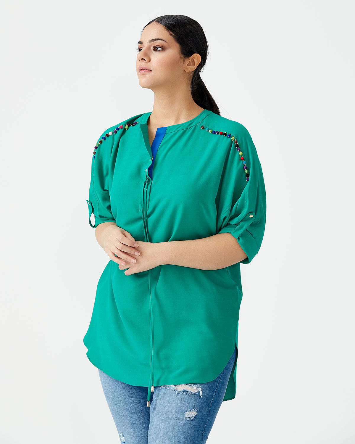 NEW - GALAXI LARGE SIZE TASSEL DETAILED ROUND COLLAR - GREEN
