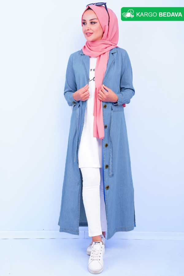 Slit Detail Jeans Blue Trench Coat