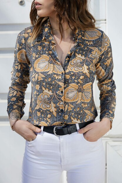 Women's Multi Flower Patterned Epaulette Shirt 9YXK2-40723-02